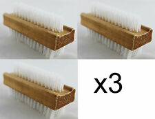 3 Pcs x Double Sided Wooden Nail Scrubbing Manicure Cleaning Pedicure Brush Bath