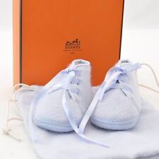 Authentic  HERMES Baby Shoes Light Blue Wool #S3567 E