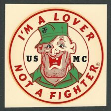 "VINTAGE ORIGINAL 1966 MARINES ""I'M A LOVER NOT A FIGHTER"" USMC WATER DECAL ART"