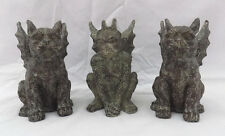 "Winged Gargolye 4"" Mini Statues - Monkey Dog/Lion/Beast? - Set of 3 - Gothic"