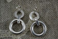 Pair of STERLING SILVER double circle drop stud earrings pierced chunky 925
