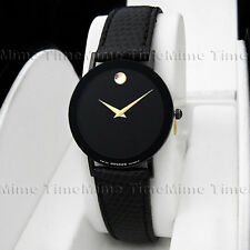 Men's Movado SAPPHIRE PVD Case Black Dial Leather Very Thin Swiss Quartz Watch