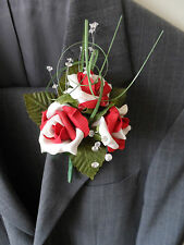 1 Red & White Rose Corsages Buttonholes Wedding Flowers Artificial