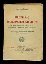 BREVIARIO ECCLESIASTICO GIURIDICO Diritto Civile Penale Farneti Marietti 1936