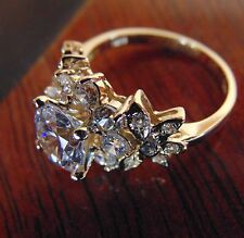 14K Yellow Gold Round Man Made Diamond Engagement Ring 4 5 6 7 8 9 10
