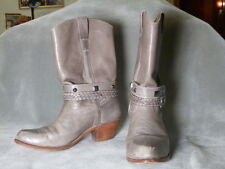 Women's Gray Leather Western Boots with Straps Buckles, Nobil's 9.5D, stacked
