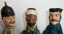 3 RARE EXCEPTIONAL*PUNCH& JUDY*WOOD CARVED HEAD c1880 CHARACTER PUPPETS *