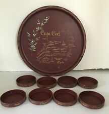 Vintage CAPE COD, MASSACHUSETTS Maroon Metal Map Tray & Coasters Souvenir