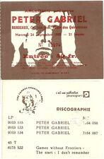 RARE / TICKET BILLET DE CONCERT - PETER GABRIEL LIVE A BORDEAUX ( FRANCE ) 1980