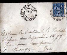 CHAILLES (41) ENVELOPPE Oblitération postale perlée en 1897 par BAUGY (18)
