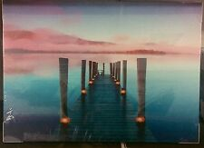 Red Pink Sunset Sky Blue Jetty Pier LED Lights Canvas Picture NEW Christmas Gift