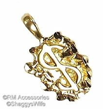 Nugget Dollar Sign Charm / Pendant EP Gold Plated with a Lifetime Guarantee