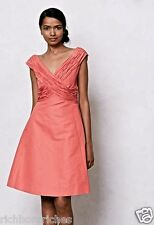 NEW Anthropologie Mirror of Venus coral silk cotton Ruched Fit & Flare Dress 8