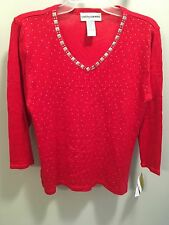 NWT Red with silver embelishments Cathy Daniels 3/4 sleeve sweater size S
