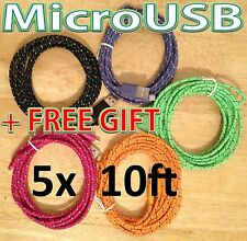 5x Lot 10Ft 3M Long BRAIDED USB MicroUSB Samsung HTC LG Charger Cable +Free Gift