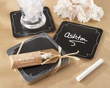 """Sip & Scribble"" Unique Party Favors Chalkboard Coasters Set of 4 Wedding Party"