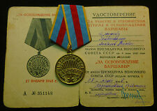 Russian Soviet Medal For Liberation of Warsaw WWII Brass Mount + 1948 Doc MINT