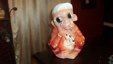 LARGE Vintage CHALK WARE Monkey Coin Bank OLD Mexico So Cute Weird Face