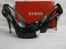 Guess Size 7.5 M Hondola Black Glitter Open Toe Heels New Womens Shoes
