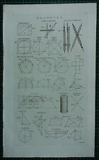 1786 PRINT ~ GEOMETRY ELLIPTIC COMPASSES VARIOUS DIAGRAMS CUBE CYCLOID CYLINDER