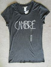 WOMEN H&M CAMBRE GRAY SHORT SLEEVE STRETCH KNIT TOP T SHIRT TEE SMALL NWT COMFY