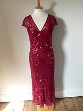 HOBBS Marilyn Anselm Red Silk Sequin V Neck Long Evening Prom Party Dress 10