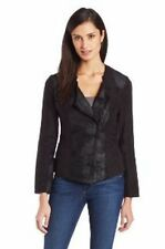DKNY Jeans Ladies Black Faux Suede Panel Biker Jacket - Large - Gift Idea
