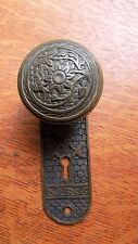 """Antique Bronze Doorknob & Matching Doorplate by Norwalk 1885  """"Bluebell"""""""