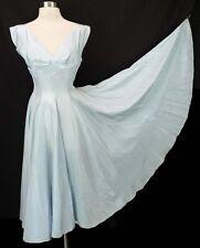 Vintage 40s 50s Full Skirt Sweep Taffeta Baby Blue Shelf Bust Party Dress S B33
