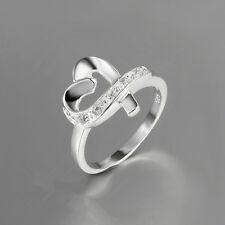 925 silver plated HEART RING / Pollice Anello con zircone donne Gioielli *** UK Venditore