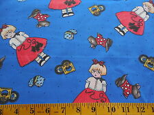 Mary Engelbreit Tossed Girls & Scotties Cotton Fabric By The Yard Blue