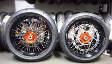 "COMPLETE SUPERMOTO 17"" WHEELS WITH TIRES KTM ORANGE HUBS / ROTORS AND SPROCKET"