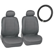 Gray PU Leather Front Car Seat Covers Steering Wheel Cover for Auto