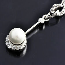 Women SilverWhite Filled Clear CZ& White Pearl Ball Chain Pendant Necklace