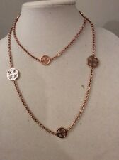 MICHAEL KORS 'Heritage' Monogram Disc Rose Gold-Tone Long Necklace $195