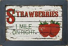 Vintage Style Country Diner Kitchen Primitive Strawberry Strawberries Wall Decor
