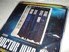 NEW Blue Doctor Who Tardis Police Call Box Shower Curtain With 12 rod rings BBC