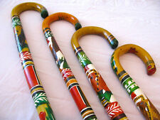 Hand Carved Painted Aztec Design Colorful Wooden Mexican Cane