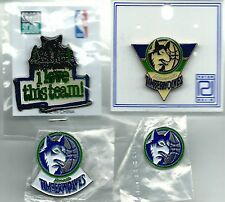NBA Minnesota Timberwolves 4 Pin/1 Magnet/2 Button Lot 90's OOP SCARCE Wolves