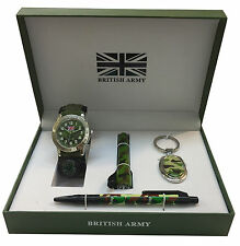 British Army Set regalo con portachiavi, Torcia, penna e Uomo/Boy's watch-anb3