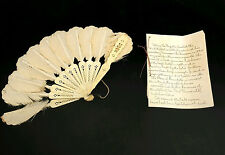 ANTIQUE Feathered Shaped CLOTH HAND FAN Marquis De LAFAYETTE Dance COLLECTIBLE