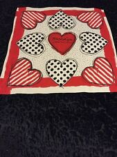 MOSCHINO CHEAP AND CHIC 100% SILK RED WHITE BLACK HEART STRIPE DOTS SCARF