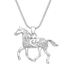"""Noble Horse Charm Pendant Fashionable Necklace - Sparkling Crystal - 17"""" Chain"""