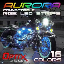 10pcs Motorcycle LED Strip Light Kit RGB Connectable Neon Accent 16 Color (A)