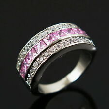 Size 6.5 Fashion Jewelry Pink/ White Engagement Ring 10KT White Gold Filled
