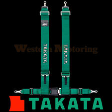 Takata Seat Belt Harness: Drift III 4-Point ASM - Green (Bolt-On) 70003US-H2