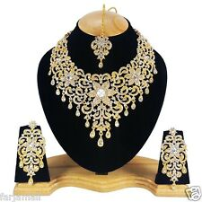 Gold Plated Bridal Style  Kundan Zerconic Designer Necklace Set Big Earrings