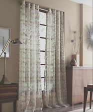 "J Queen New York 1 Sheer Grommet Window Curtain Panel Ivory White Leaves 50""x84"""