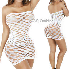 White Cut Out Hollow Lingerie Fishnet Babydoll Leotard Chemise Tights Tube Dress