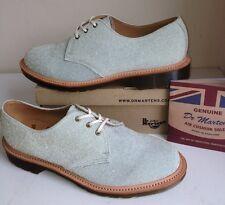 Rare! New Sz7 England Dr.Martens 1461 Blue Suede/ Gold Glitter Flat Shoes Eu41